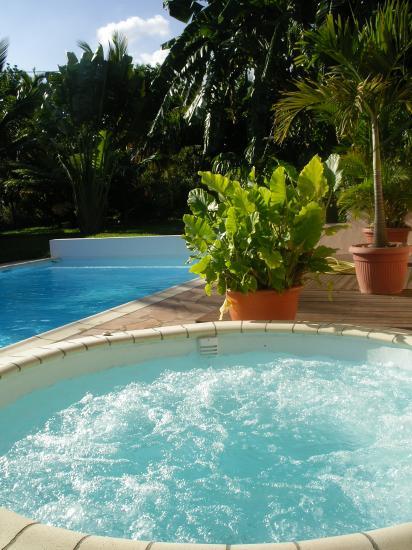 jacuzzi et piscine de la location saisonnière