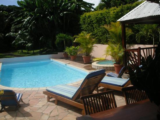 vue de la piscine de la petite varangue de la villa